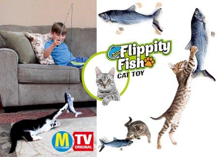 Flippity Fish Katzenspielzeug in Silber.