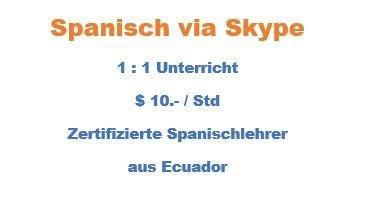 Spanisch online via Skype mit Spanischlehrer aus Ecuador - Gratisinserat.ch