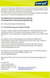 Projektleiter/in Fachrichtung Lüftung und Projektleiter/in Fachrichtung Heizung - Gratisinserat.ch