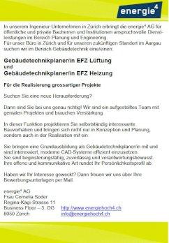 Gebäudetechnikplaner/in EFZ Lüftung  und Gebäudetechnikplaner/in EFZ Heizung