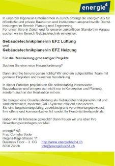 Gebäudetechnikplaner/in EFZ Lüftung  und Gebäudetechnikplaner/in EFZ Heizung  - Gratisinserat.ch