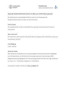 Gesunde Studienteilnehmer/innen im Alter von 18-45 Jahren gesucht - Gratisinserat.ch