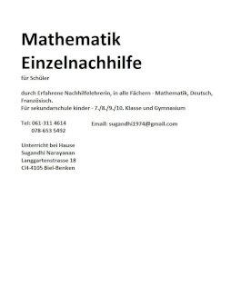 Nachhilfe Mathematik - Gratisinserat.ch