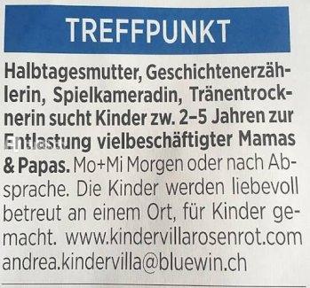 Halbtagesmutter in Arbon - Gratisinserat.ch