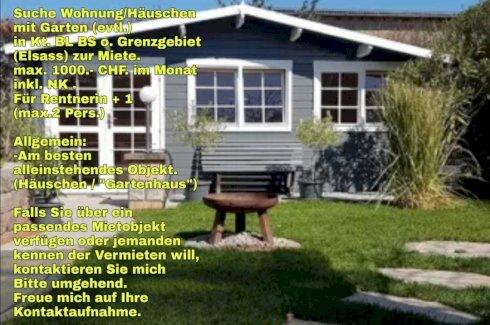 Suche Wohnung/Häuschen mit Garten in Kt. BL BS o. Grenzgebiet (Elsass) zur Miete - Gratisinserat.ch