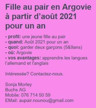Cherche jeune fille aupair Suisse en Argovie à partir dAoût 21