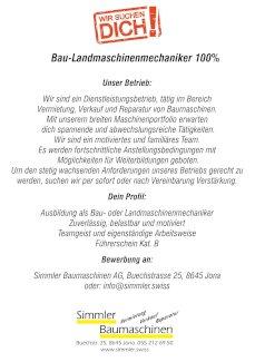 Bau-Landmaschinenmechaniker 100 % - Gratisinserat.ch