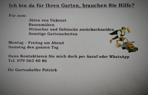 Brauchen Sie Hilfe im Garten? - Gratisinserat.ch