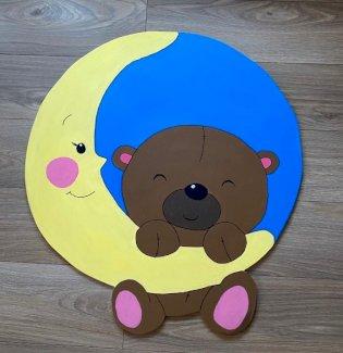 Geburtstafel Babytafal Mond mit Bär - Gratisinserat.ch