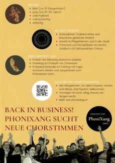 Junger Chor mit breitem Repertoire sucht SängerInnen - Gratisinserat.ch