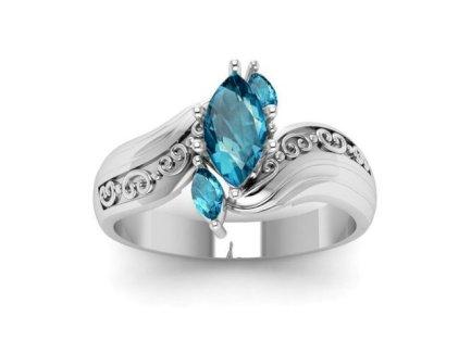 Klassig Original Retro Aquamarin Damen Ring 925 Sterling Silber - Gratisinserat.ch